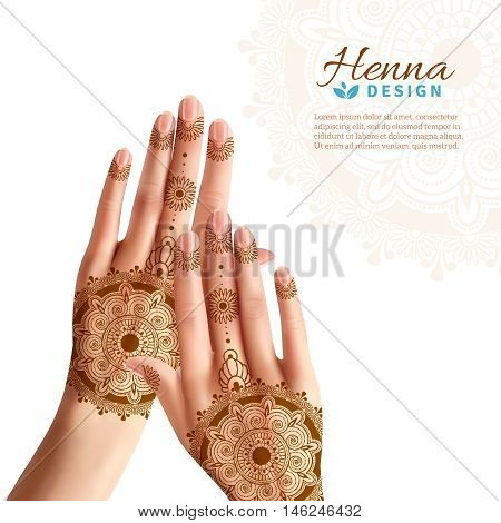 Women hands coloring with indian henna paste or mehndi design of tattoos realistic advertisement poster vector illustration