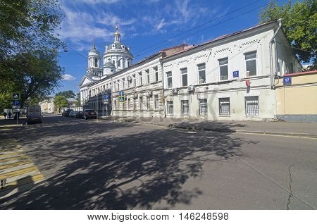 MOSCOW RUSSIA - JULY 31 2016: Church of Martin the Confessor (Ascension) on the Solzhenitsyn street in Moscow. Sunny morning in July.