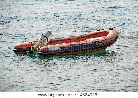 Rescue inflatable rubber boat on the sea