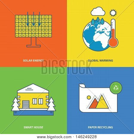 Concept of solar energy, global warming, smart house, paper recycling. Flat Vector illustration. Can be used for banner, business data, web design, brochure template