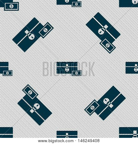 Chest Icon Sign. Seamless Pattern With Geometric Texture. Vector