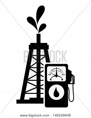 flat design oil rig and fuel dispenser icon vector illustration