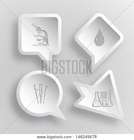 4 images: lab microscope, drop, crutches, chemical test tubes. Medical set. Paper stickers. Vector illustration icons.