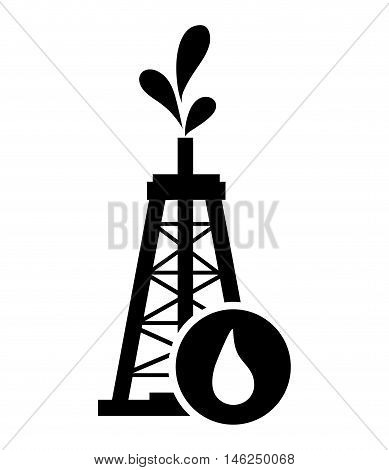 flat design oil rig and droplet icon vector illustration