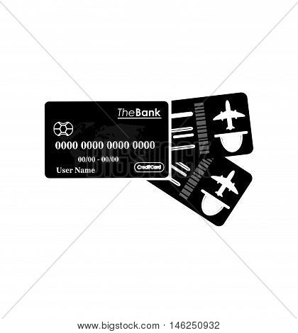 flat design boarding pass and credit card icon vector illustration