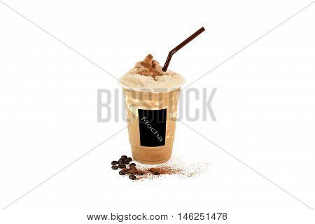 Iced mocha frappe In Plastic cup on isolate background