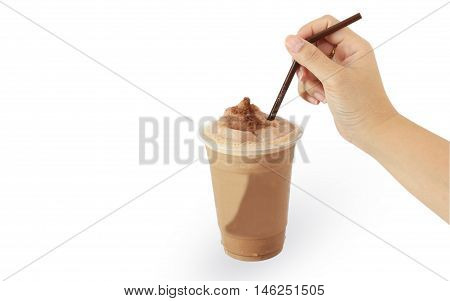 Iced frappe mocha drink on white background