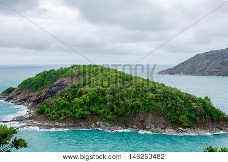 Cloud sky and sea of Promthep cape southest point of Phuket island