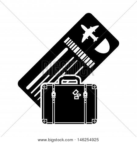 flat design boarding pass or ticket and suitcase icon vector illustration