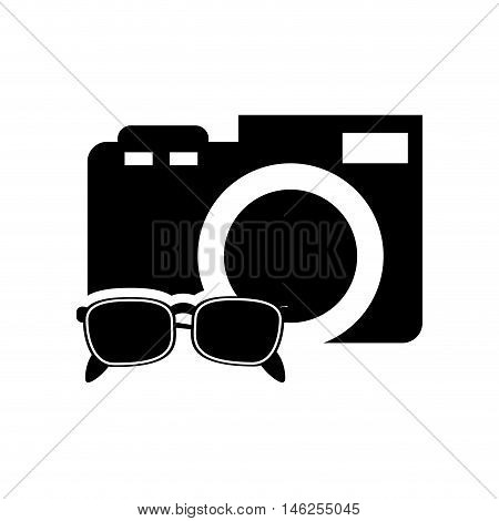 flat design photographic camera and sunglasses  icon vector illustration