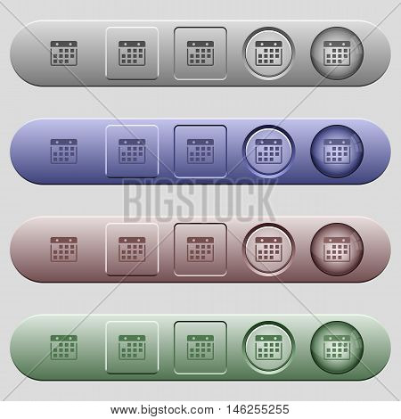 Hanging calendar icons on rounded horizontal menu bars in different colors and button styles