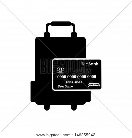 flat design travel suitcase and debit or credit card  icon vector illustration