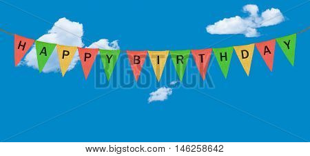 High resolution colorful sack cloth pennants with the letters embossed on each to create pennant flag message of Happy Birthday in the sky