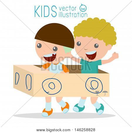 children driving cardboard car, Happy child ride on toy car made of cardboard , Creative kids plays with his cardboard car on white background, Vector Illustration