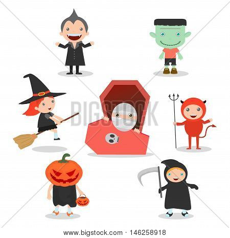 vector illustration of Cute kids wearing Halloween monster costume on white background, Happy Halloween,Halloween Party