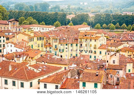 Aerial cityscape view on the old town of Lucca with Anfiteatro square in Italy