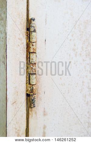 Old vintage rusty hinges on wooden door