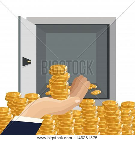 strongbox and coins icon. Money economy commerce and market theme. Isolated design. Vector illustration