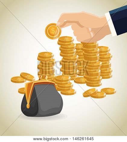Purse and coins icon. Money economy commerce and market theme. Isolated design. Vector illustration