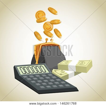 Purse calculator coins and bills icon. Money economy commerce and market theme. Isolated design. Vector illustration