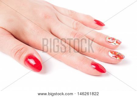 red manicure with a pattern isolated on white background.