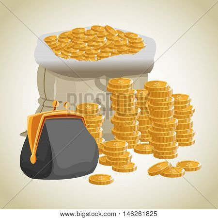Bag purse and coins icon. Money economy commerce and market theme. Isolated design. Vector illustration