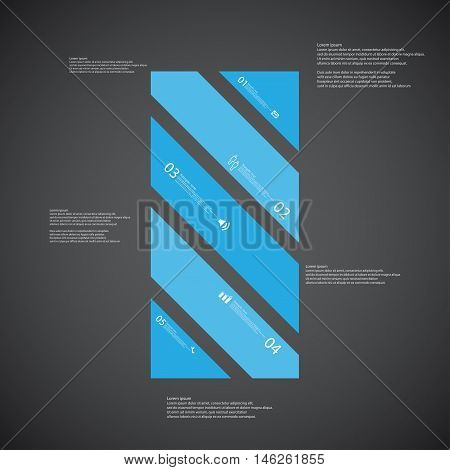Bar Illustration Template Consists Of Five Blue Parts On Dark Background