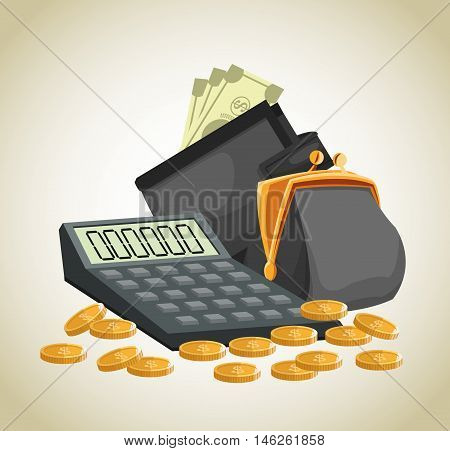 Purse wallet calculator coins and bills icon. Money economy commerce and market theme. Isolated design. Vector illustration