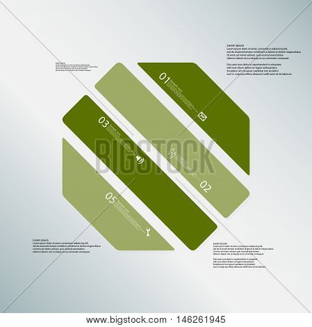 Octagon Illustration Template Consists Of Four Green Parts On Blue Background