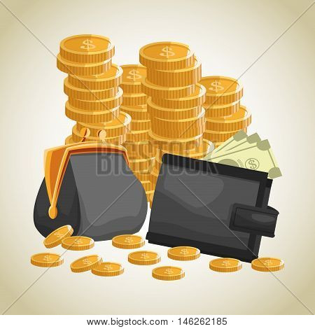 Purse wallet coins and bills icon. Money economy commerce and market theme. Isolated design. Vector illustration