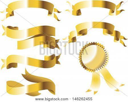 Gold glossy ribbon vector banners set. Ribbon label gold glossy, ribbon curled tag, waving ribbon gold glossy illustration