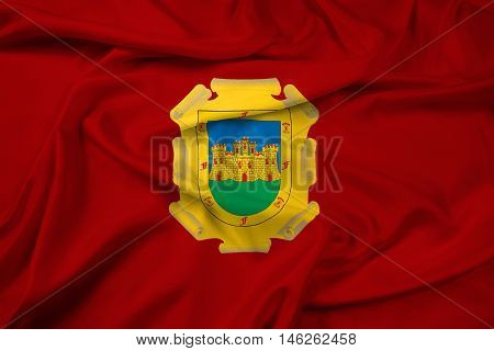 Waving Flag of La Serena Chile, with beautiful satin background