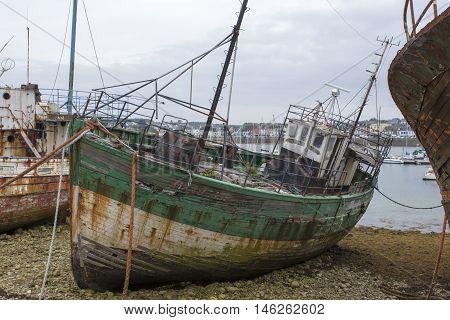 Camaret-Sur-Mer France - August 17 2016: View of Shipwrecks in Camaret-Sur-Mer Brittany France