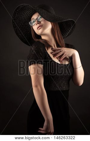 elegant Mixed Race Korean Russian girl with black dress