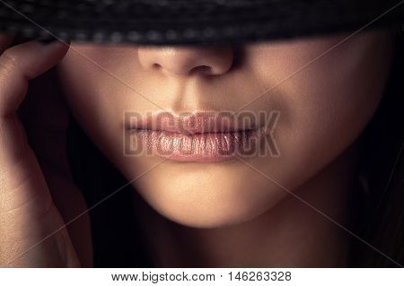 beautiful young face with sensual lips close up