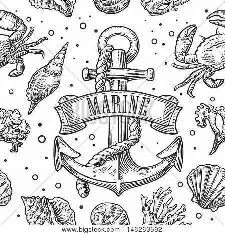 Seamless pattern sea shell coral crab shrimp and anchor with ribbon title MARINE. Isolated on white background. Vector vintage engraving illustration