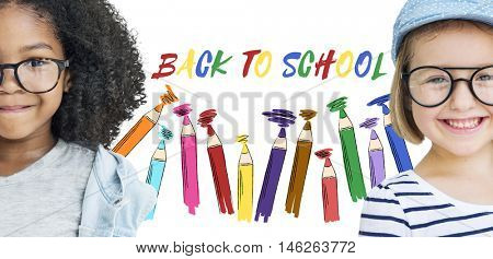 Retro Girls Back To School Concept