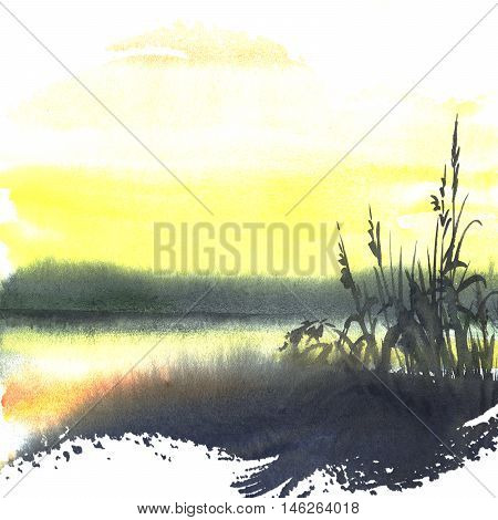 Watercolor illustration of nature - yellow sunset on the river with reeds under the evening sunset light. Hand painting art.