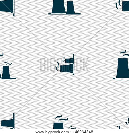 Atomic Power Station Icon Sign. Seamless Pattern With Geometric Texture. Vector