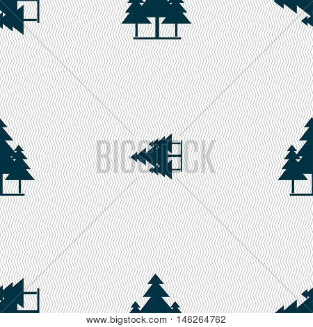 Christmas Tree Icon Sign. Seamless Pattern With Geometric Texture. Vector