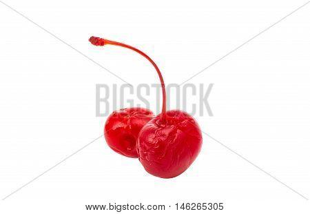 maraschino cherry cocktail ingredient on a white background