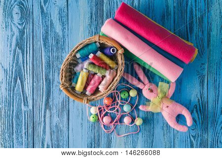 Sewing Background. Accessories For Needlework On Wooden Background.