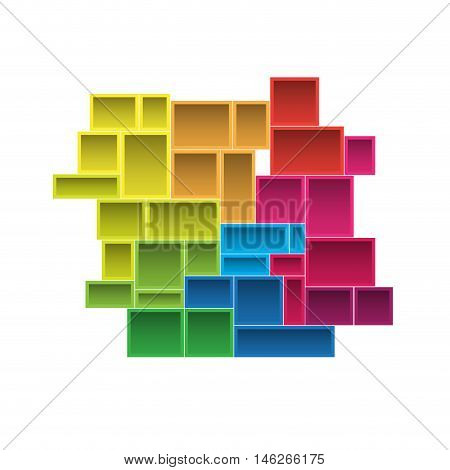 Vector modular shelving 3d graphic abstract illustration