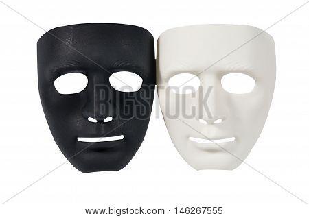 Black and white masks like human behavior conception