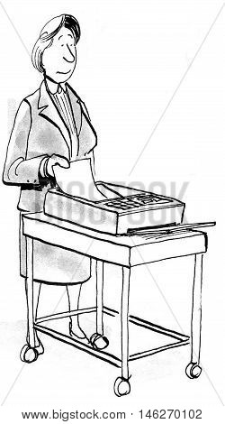 Business illustration of businesswoman sending a fax.