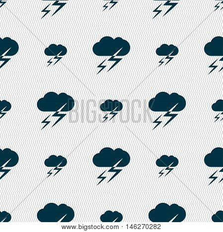 Weather Icon Sign. Seamless Pattern With Geometric Texture. Vector