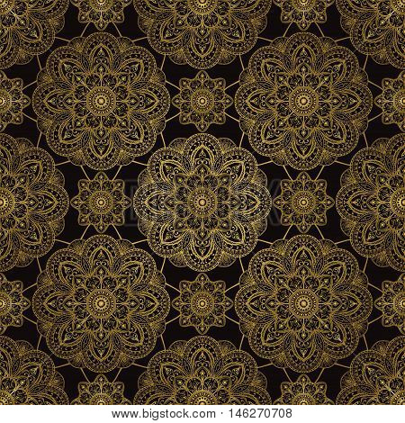 Abstract gold ornament of mandalas on a black background. Vector seamless oriental pattern. Template for shawl textile carpet drapery.