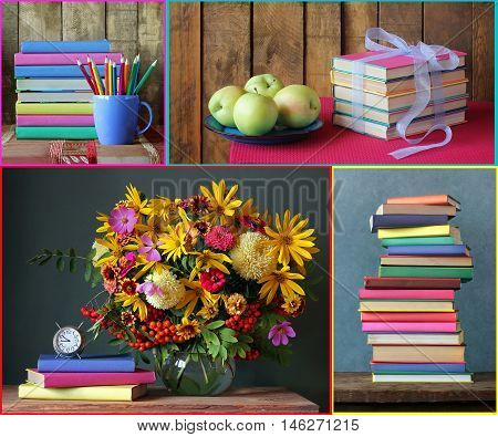 Collage with books. Back to school. September 1 knowledge Day. The teacher's day.