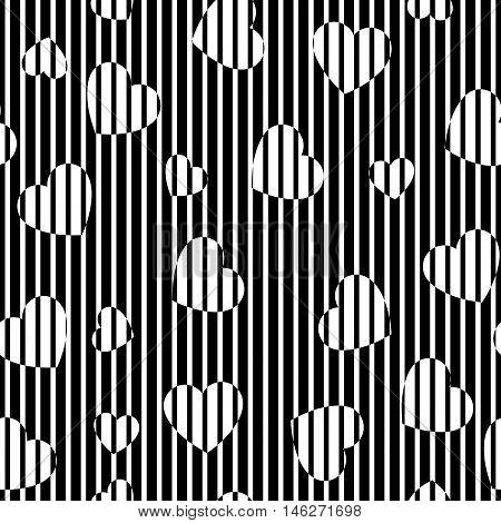 Hearts pattern. Chaotic decoration. Chaos illustration. Rambling design. Random backdrop. Turmoil wallpaper. Casual art. Mess background. Geometric print. Seamless ornament. Vector.
