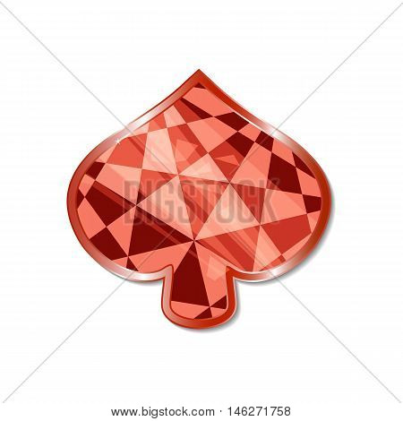 Suit of Spades Icon. Vector illustration for graphic projects Parties Business Web. Icon Can be used for Game Web Mobile App Infographics. Game asset.
